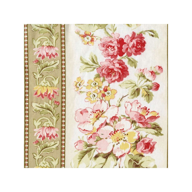 Attic Treasures - Beige Floral Stripe