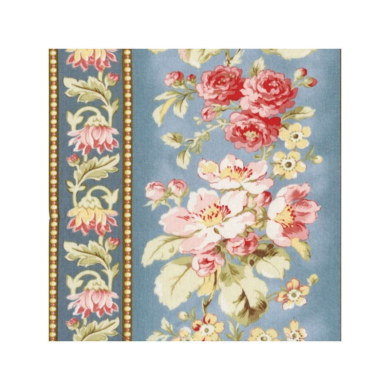 Attic Treasures - Blue Floral Stripe