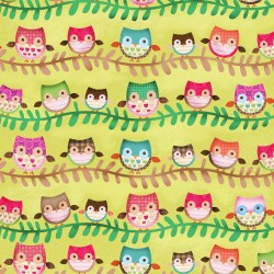 Friendly Forest -  Lime Owl Stripe